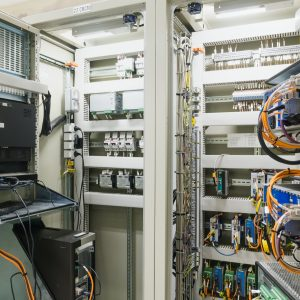 Electrical Panel or equipment Switch of electrical room / switch gear and control room in electricity industry, Power Plant, Substation including the component such as voltage switch, circuit, wire.